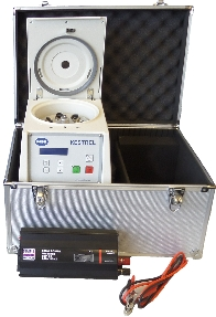 Portable centrifuge to be run on car battery