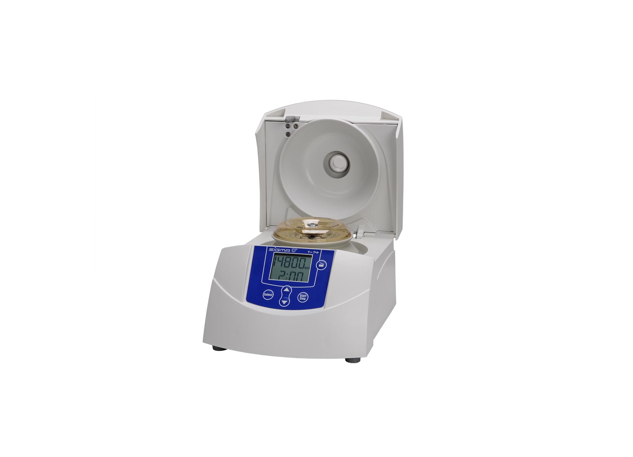 Sigma 1-14 centrifuge open lid