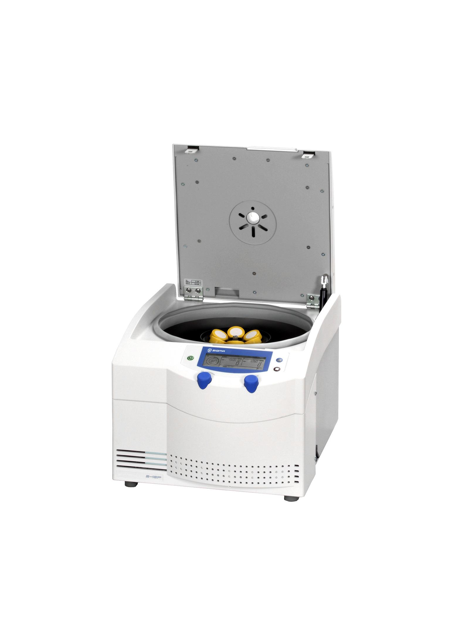 Sigma 2-16P centrifuge open lid