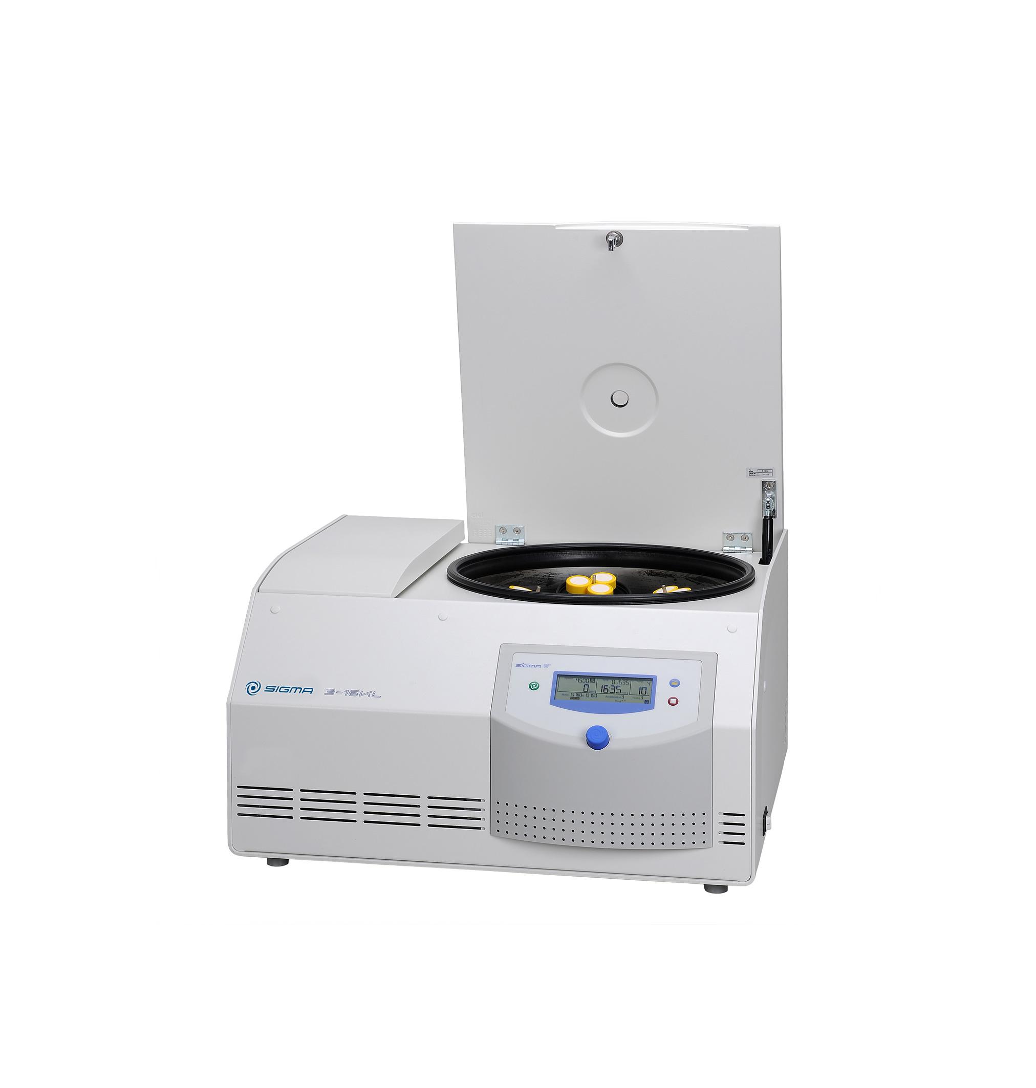 Sigma 3-16KL centrifuge open lid