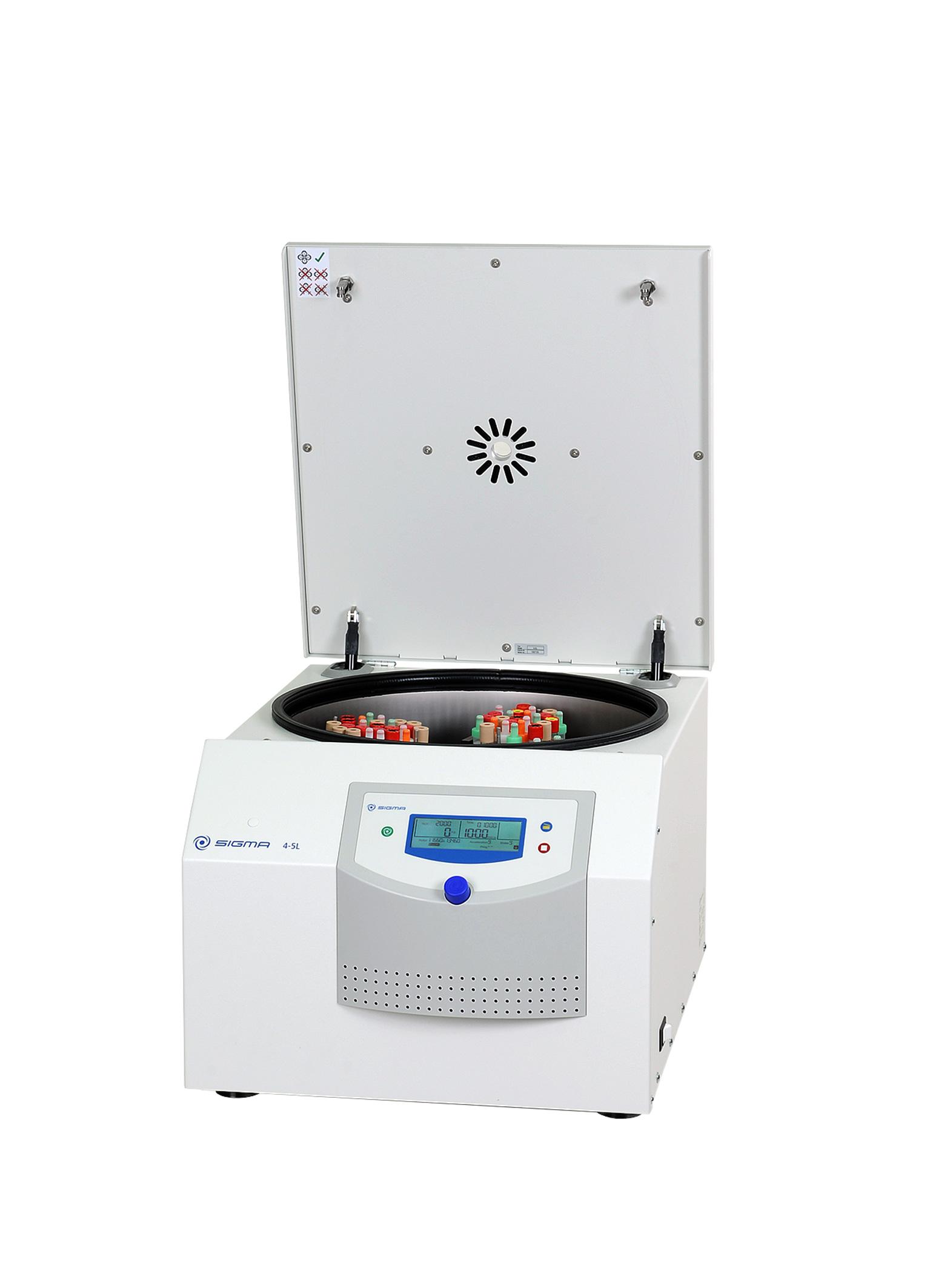 Sigma 4-5L centrifuge open lid